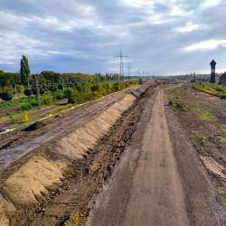 Aufbau des Lärmschutzwalls zwischen Wedau und Bissingheim